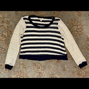 in EUC Ella Moss Navy and White Striped L/S Sweater   Size:  M